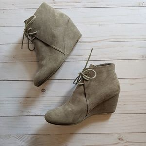 Suede lace up booties EUC